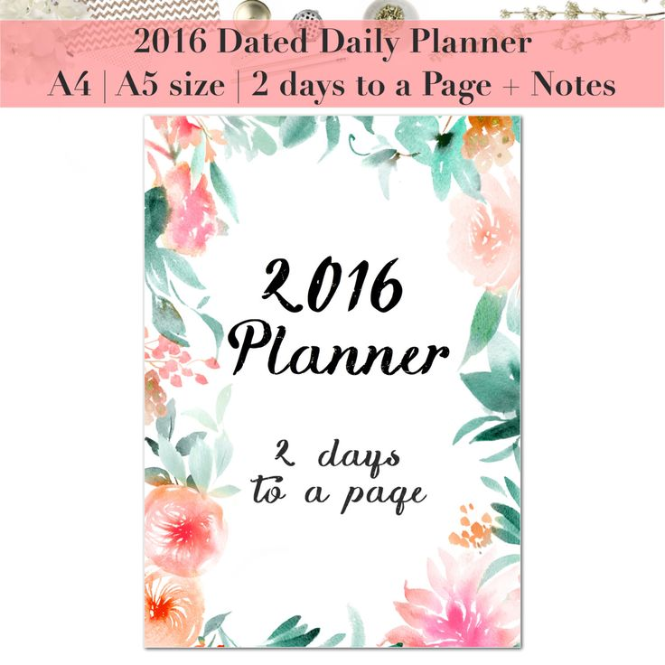 2016 Daily Planner Dated | 2 days to a Page | Planner refill | Planner insert | 12 month diary | Agenda | A5 | A4 | Kikki K | Filofax | 2DPP by StyleCelery on Etsy https://www.etsy.com/listing/263200790/2016-daily-planner-dated-2-days-to-a
