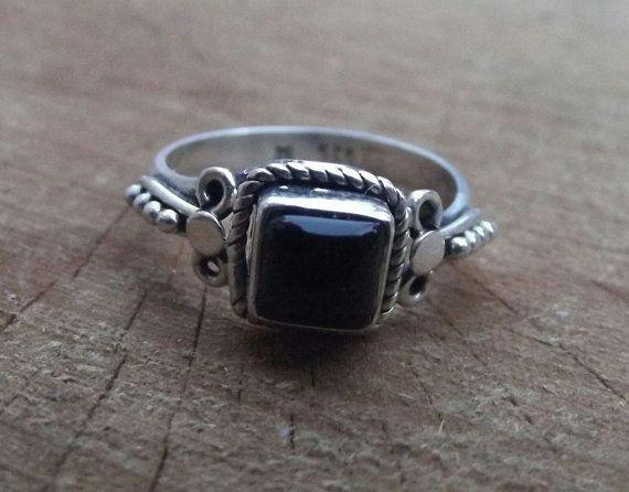anello argento 925 anello nero onice argento di silveringjewelry