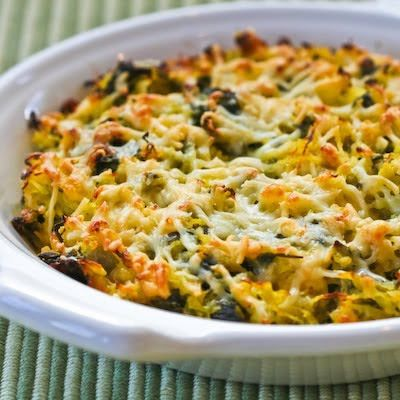 I used spaghetti squash and chard from my garden to  make this delicious gratin.