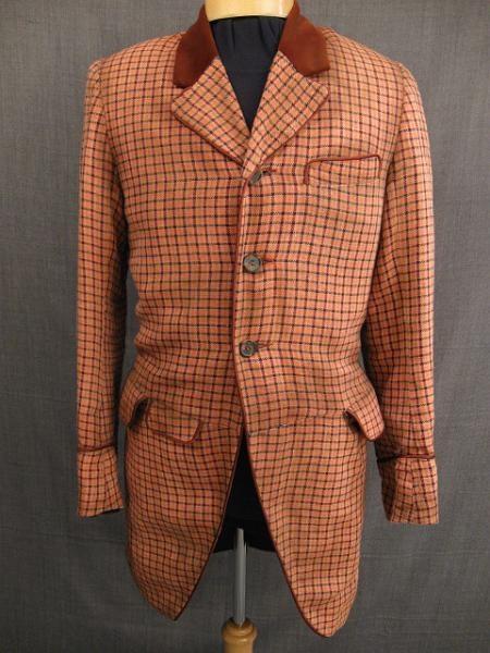 Suit Men's 3pc 1880  orange brown windowpane wool