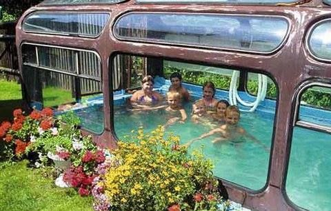 Upcycled Pool bus. Yep that's right, used to be a bus now turned into an indoor swimming pool. How cool is that! Don't you just love the garden too!