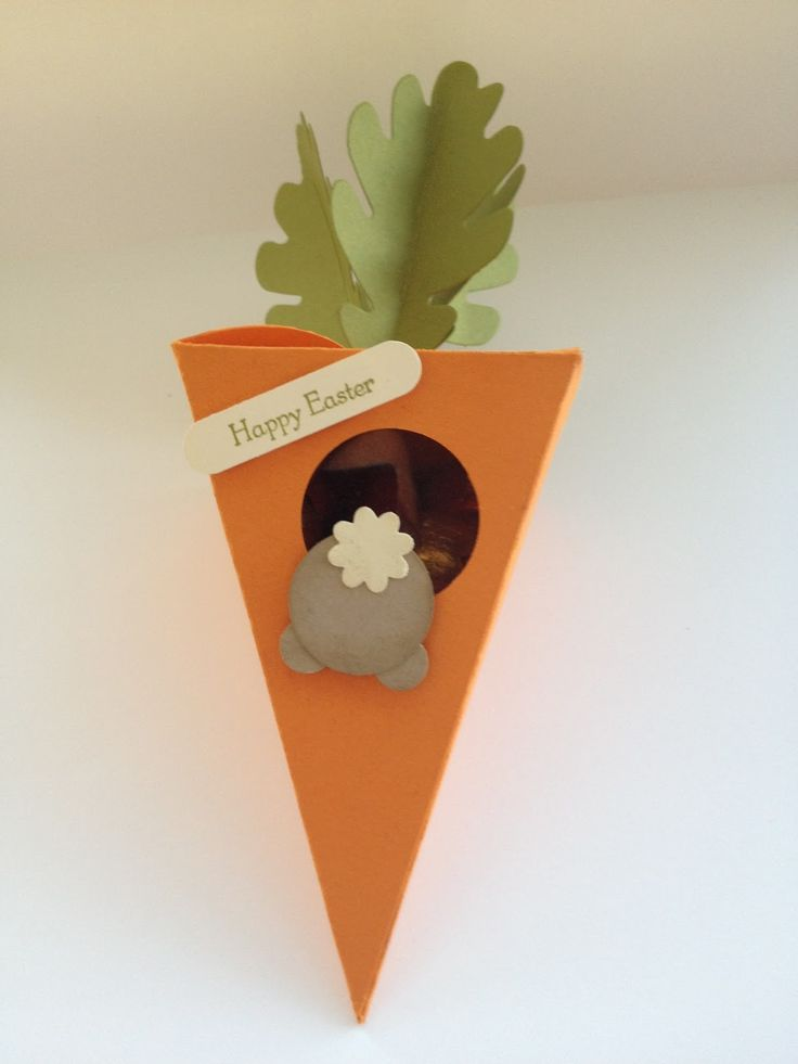 Easter carrot box using the Petal Cone and Autumn Accents Dies from Stampin' Up!