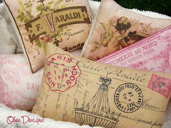 Vintage French Chandelier Postcard PILLOW with Pink Accents and Tan Linen Envelope Closure Back