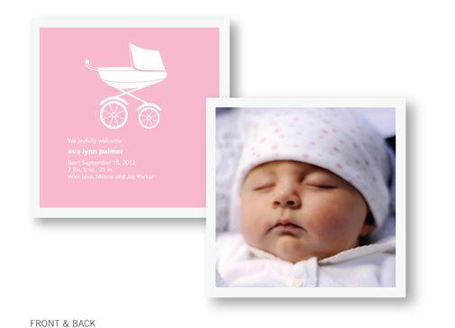Pink Pram Birth announcement from Pinhole Press