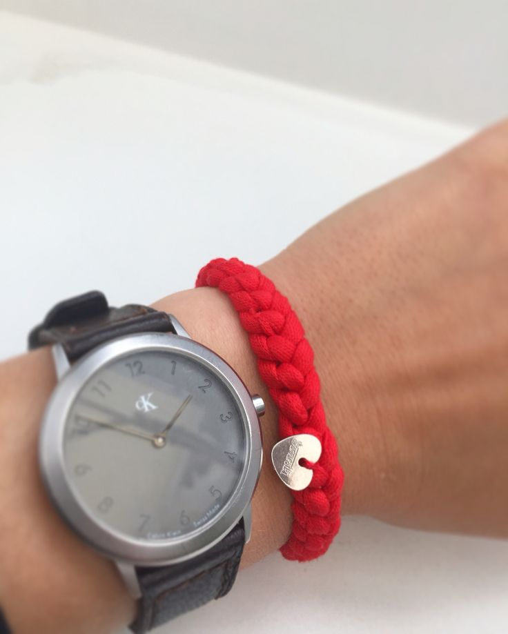Handmade cotton bracelet with silver heart