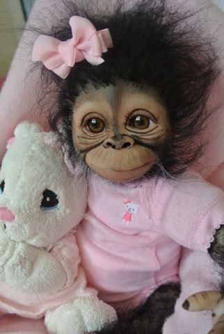 OOAK Reborn Monkey Orangutan Baby Girl Art Doll Original Newborn Chimpanzee | eBay