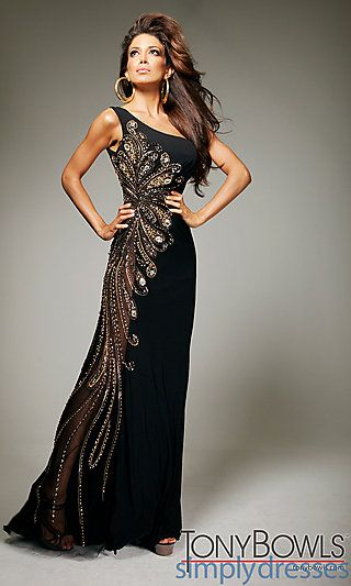 Long One Shoulder Black Embellished Gown by Tony Bowls at SimplyDresses.com