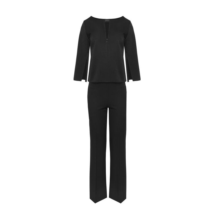 Black suit wide trousers