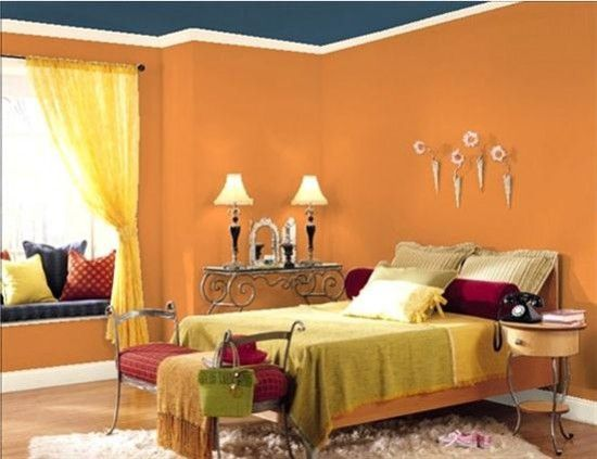 Orange And Blue Color Combination On Bedroom Wall Decor Colors