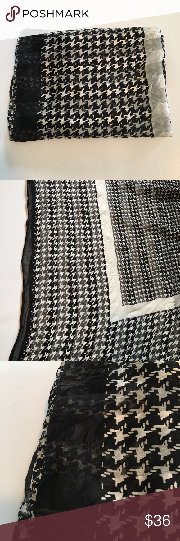 💕💕Nordstrom Houndstooth Scarf Classic ... Large Square Houndstooth Scarf , Finishes An Outfit ! ( Always Received Compliments When Wearing ! ) Nordstrom Accessories Scarves & Wraps