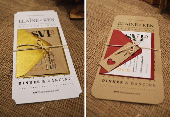 25 x Wedding Invitation Suites - 'Rustic Linear - Kraft & Burgundy' (M.dePrada)