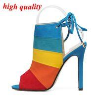 Gladiador sandalias mujeres recortes altos talones del dedo del pie abierto tacones altos mujeres bombas cordones tacones altos verano Zapatos Mujer elegante Zapatos de Mujer Y792