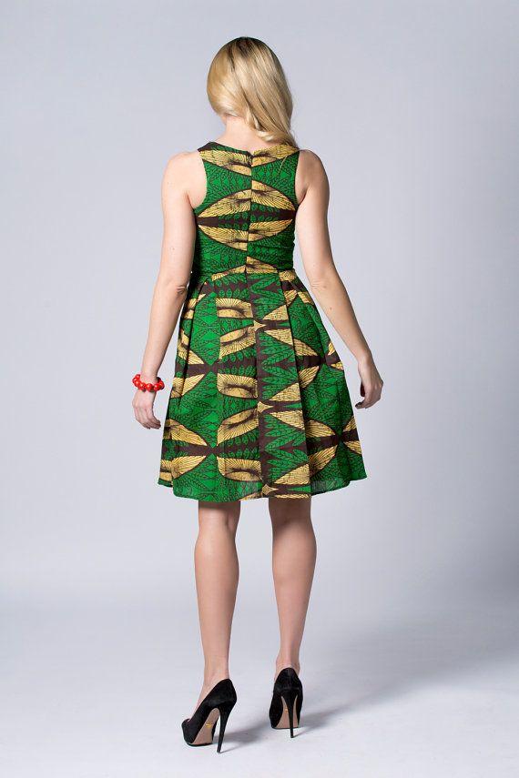 Robe verte mi-longues cire robe imprimée robe Batik par COLUFashion