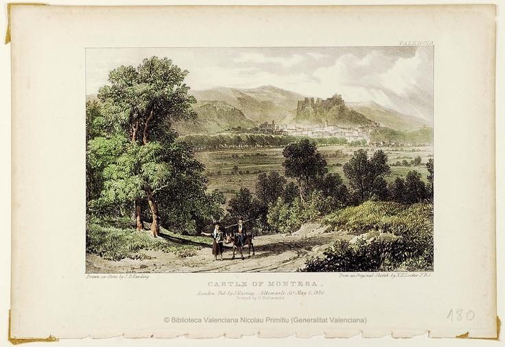 Castle of Montesa, 1824, por James Duffield Harding. 1 estampa : litografía col. ; imagen 12'5 x 19'5 cm., en h. de 18'5 x 27 cm