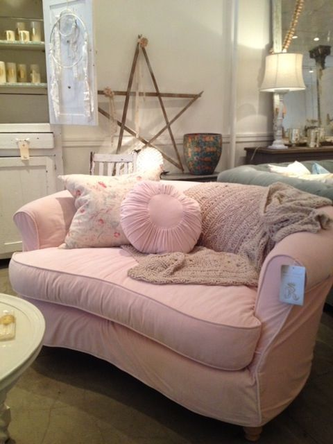 pink love seat - would be fantastic in white.