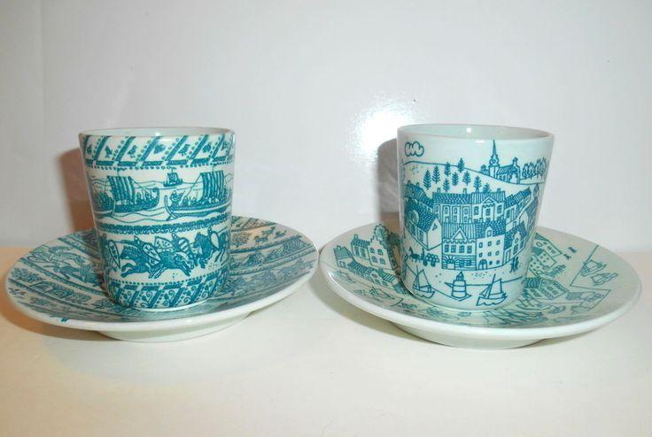 2 NYMOLLE Hoyrup Denmark Art Faience CUP & PLATE SETS Blue Green 4-5a & 4006 EUC