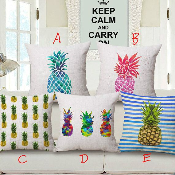 Pineapple Grafitti Designs Printed Square Throw Pillow Covers