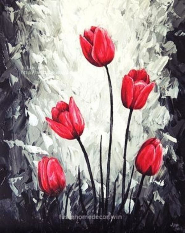 70 Easy And Beautiful Canvas Painting Ideas For Beginners To Try Flower Art Painting Oil Painting Pictures Tulip Painting