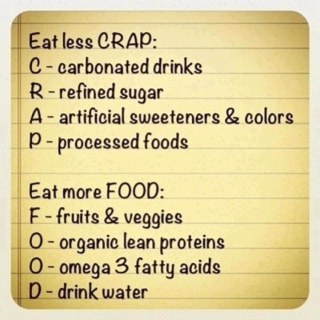Eat Less C.R.A.P. and more F.O.O.D.