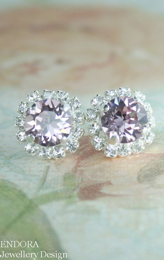 Lilac crystal earrings | Lilac wedding | Lilac bridesmaid | www.endorajewellery.etsy.com