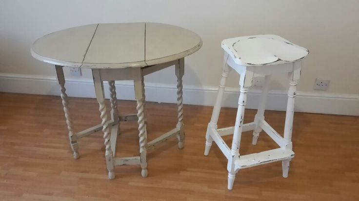 Not sure Grannie would have approved,  but I like the distressed look of my barley sugar legged drop - leaf table and old bank clerk's stool in country grey and pure batch Annie Sloan chalk paint.