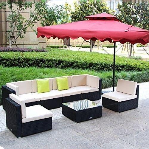 7 Piece Sofa Garden Furniture Patio Outdoor Rattan Wicker Sectional Set Black #7PieceSofaGardenFurniture