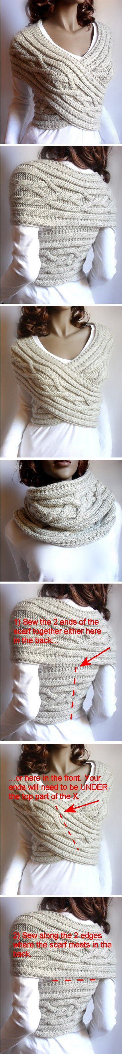 INSANELY CLEVER!   2-way cabled vest/cowl - *Inspiration* this one is knit but you could easily crochet this so pull out your favorite scarf pattern and get to crocheting. You may need to adjust the width of the scarf. Once your scarf is long enough, wrap it around yourself and tack the ends to each other then tack the 2 back edges to each other, take it off and sew where you tacked using matching yarn.