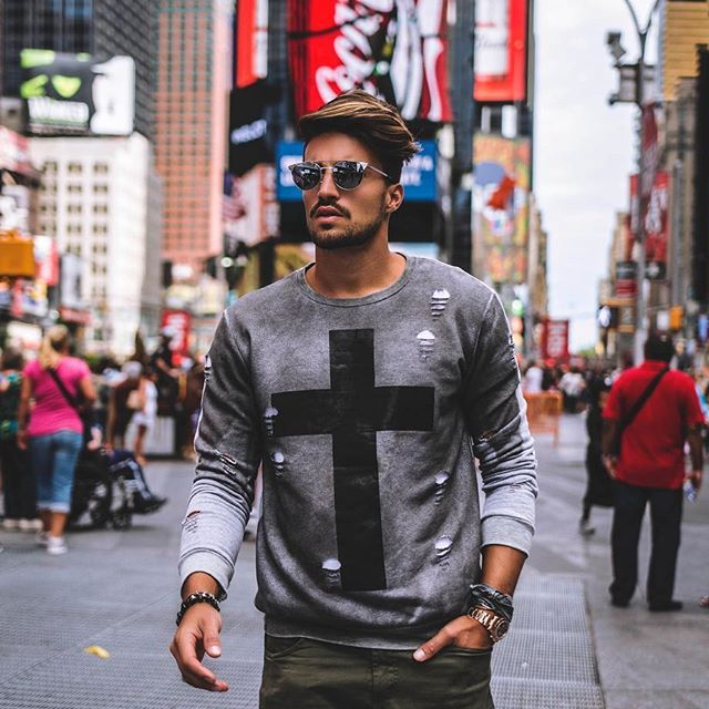 """Between the lights of Times Square @marianodivaio rocking the new """"X Sweatshirt"""" by Nohow Black Collection • • • www.nohowstyle.com #Benohow #nohow"""