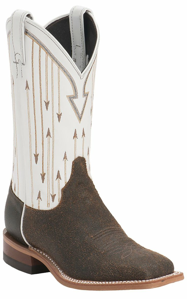 Justin Bent Rail Women's Chocolate Mesquite with White Top Double Welt Square Toe Western Boots