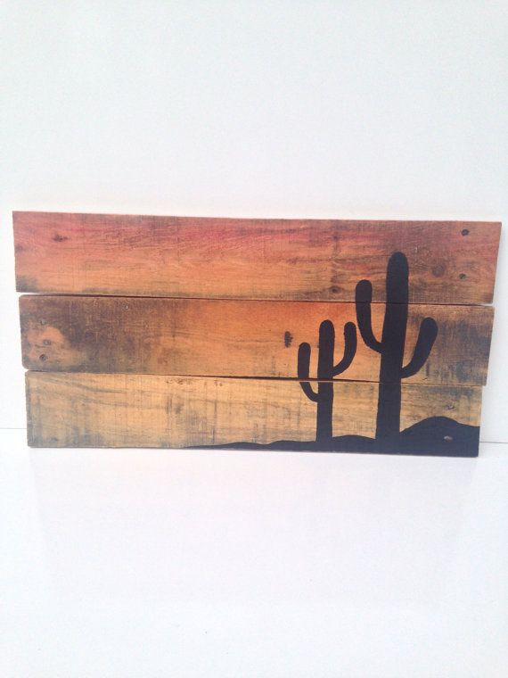pallet art, reclaimed wood art - desert sunset with cactus