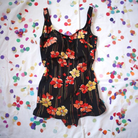 Vintage 60s Black Floral Red Orange and Yellow by AlteredStatesAu