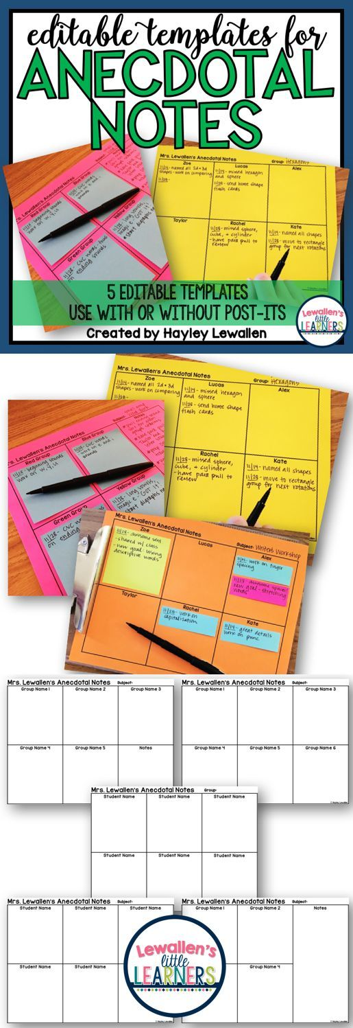 EDITABLE Anecdotal Notes templates for any subject