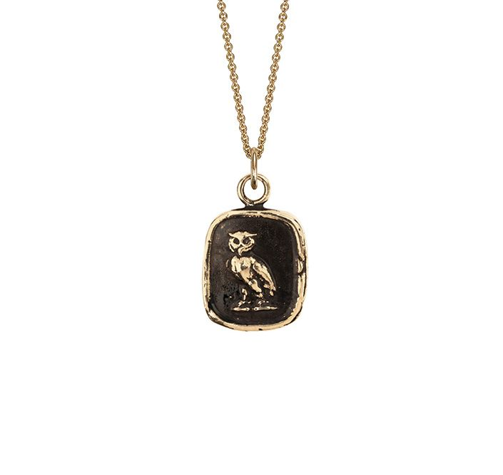 Watch over me 14k #gold talisman The great horned #owl is a warrior bird representing #strength, #courage, and #wisdom. Depicted facing forward on this talisman, the owl vigilantly watches over loved ones.