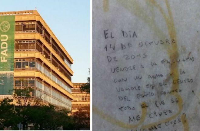 FADU: Pocos estudiantes acudieron a clases por la amenaza de disparos Por Radio El Mundo, el Secretario de Comunicación dijo que volverán a la normalidad. http://www.argnoticias.com/sociedad/item/38897-la-facultad-de-arquitectura-abrir%C3%A1-pese-a-la-amenaza-de-disparos