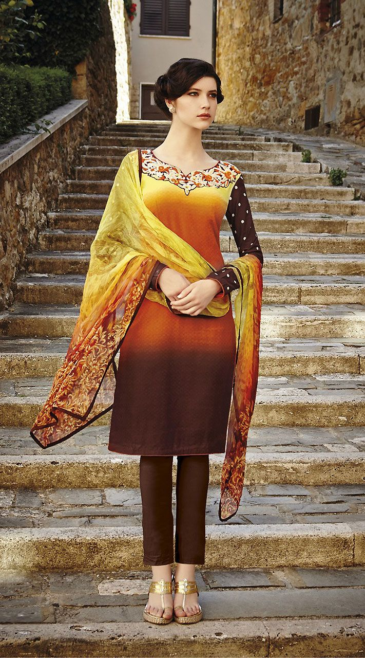 Classy Dark Orange And Chocolate Cigarette Pant With Kameez