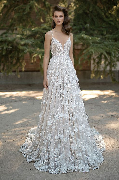 Berta embroidered A-line wedding dress with 3D florals, Berta Spring 2016 Bridal Collection: