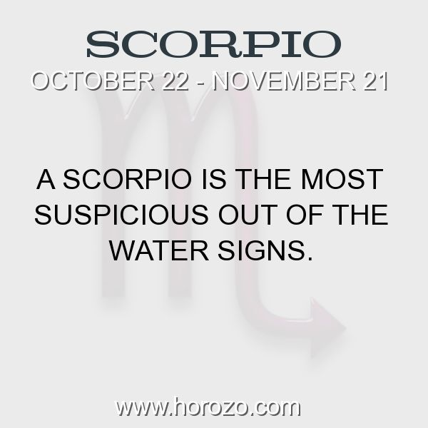 Fact about Scorpio: A Scorpio is the most suspicious out of the water signs. #scorpio, #scorpiofact, #zodiac. More info here: www.horozo.com