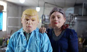 Can you spot the fake US election news stories?      Did you fall for any stories as fake as these Donald Trump and Hillary Clinton masks?