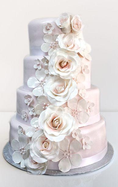 Blush pink rose cascading wedding cake.