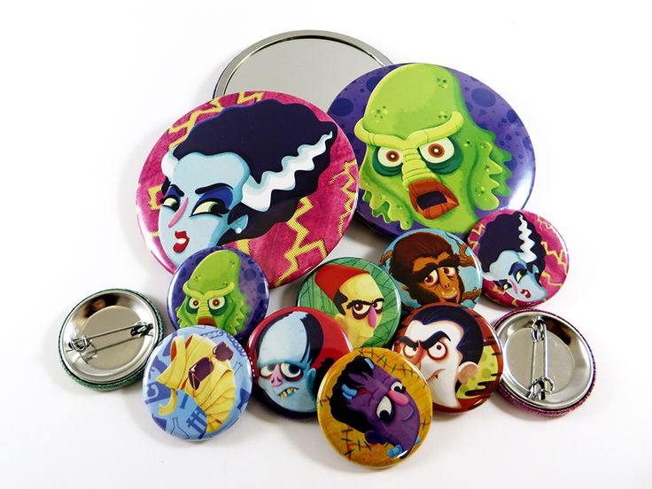 L'hommage de Kid Subtitle aux Monstres du cinéma classique hollywoodien. — Kid Subtitle worked on a series of 32 mm button badges and 75 mm pocket mirrors about the classic Universal Monsters !