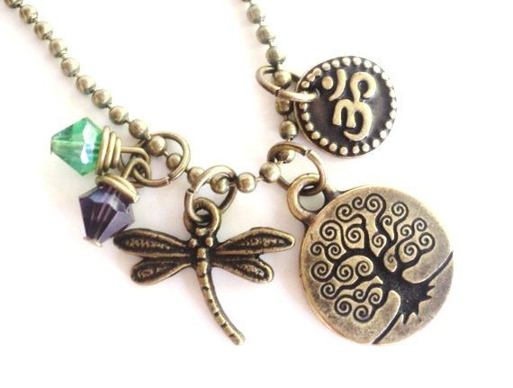 Tree of Life Necklace Dragonfly Yoga by BohemianEarthDesigns, $24.95