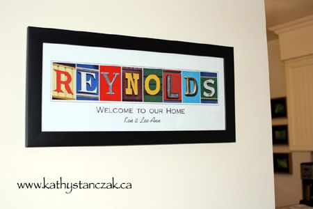 Your family name in vintage colored letters, makes a unique and personal gift and keepsake.  #AlphabetArt, #gift, #art