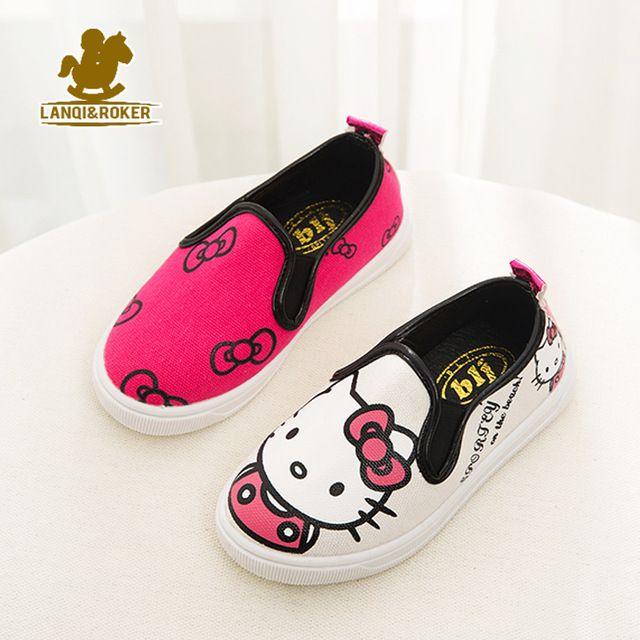 Otoño nuevos niños de la historieta de lona shoes spring niños niñas hello kitty pisos zapatillas 4 diseñadores niños transpirable shoes 21-36