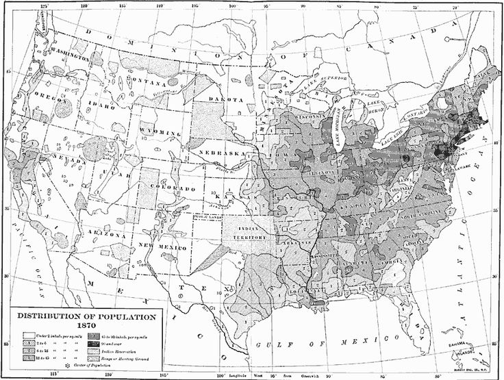 US Population Distribution Ancestry Genealogy Census - Map of us in 1870