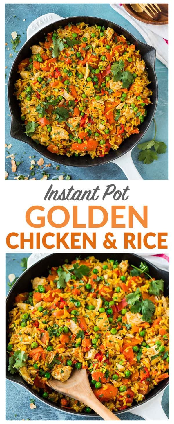 Healthy Instant Pot Golden Chicken and Rice! {#ad} Brown rice is cooked in creamy coconutmilk along with juicy chicken, fresh veggies, and healing golden spices such as turmeric and ginger. An easy one-pot meal that the whole family will love! Sponsored by @almondbreeze