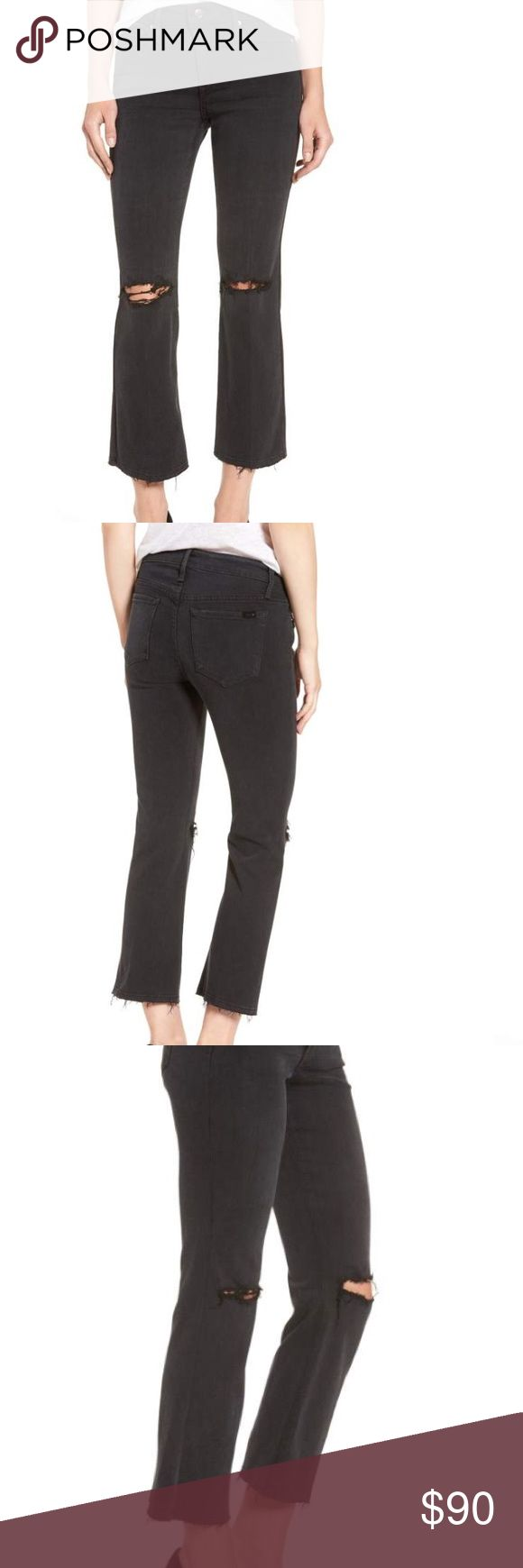 """NWT Joes Emilie Jeans, frayed bottom + ripped knee Frayed, ripped knees and ragged hems define the edgy character of trend-right cropped flare jeans cast in a cool faded-black wash. 26 1/2"""" inseam; 17"""" leg opening; 9"""" front rise; 13"""" back rise (size 29). Zip fly with button closure. Five-pocket style. Dark dye may transfer to lighter materials. 56% rayon, 25% cotton, 18% polyester, 1% spandex. Dry clean or machine wash cold, line dry. Joe's Jeans Jeans Ankle & Cropped"""