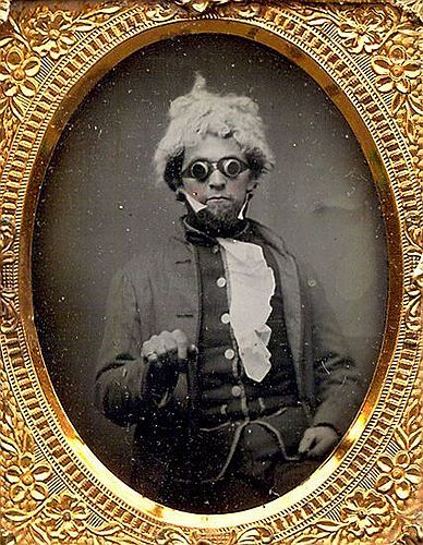 c. 1850, Ambrotype portrait of an Ojibwa(Native American tribe) gentleman with goggles and a hair piece