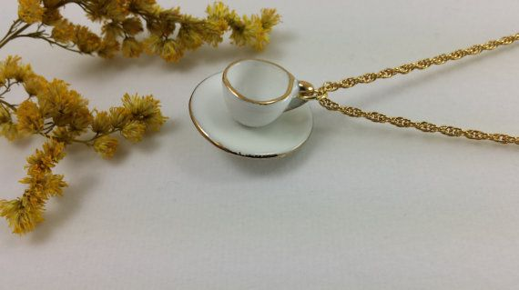 Tea Time Necklace tiny handmade jewelry china cup by WildFernArt