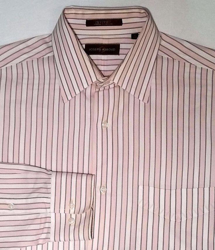 Joseph Abboud Men's White & Pink Brown Stripe Cotton Dress Shirt sz 16(32/33) #JosephAbboud