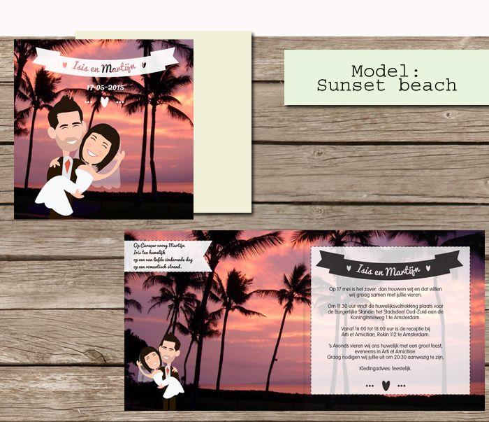 #custom # illustrated #wedding #invites  #trouwkaarten op maat #maatwerk #cartoon #tekening van jezelf nagetekend op een trouwkaart. #beach